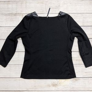 Halogen Black top with leather Detail